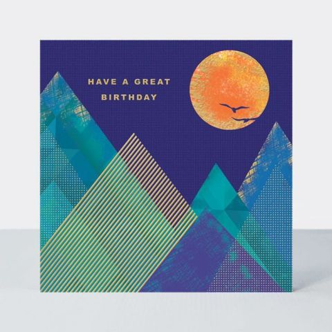 Mountains,&,Sun,Birthday,Card,buy mountain and sun male birthday cards online, buy male birthday cards online, buy sunset sunrise walker mountaineering brithday cards for men online, buy birthday boy birthday cards online, buy retro male birthday cards online