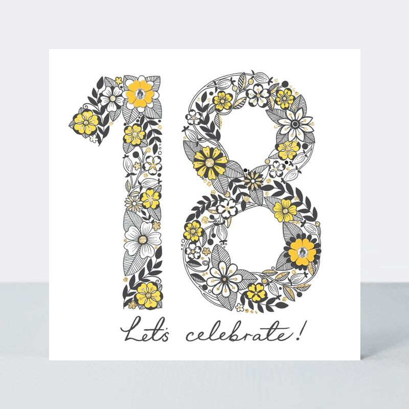 Floral 18th Birthday Card - product images