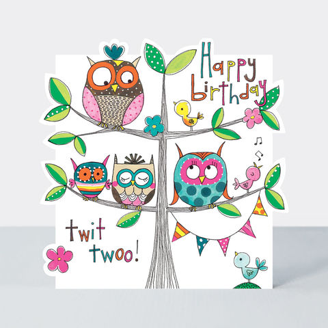 Owls,On,Tree,Happy,Birthday,Card,buy birthday card for her online, buy girls birthday cards online, buy cute birthday cards online, buy Rachel Ellen birthday cards online, buy owls birds bunting birthday cards online