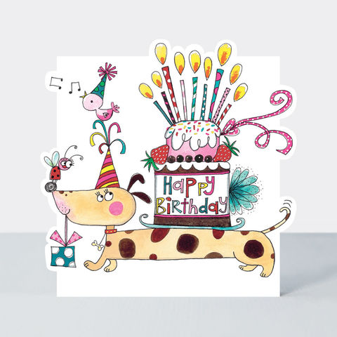 Sausage,Dog,And,Cake,Happy,Birthday,Card,buy birthday card for her online, buy girls birthday cards online, buy cute birthday cards online, buy Rachel Ellen birthday cards online, buy sausage dog birthday cards online
