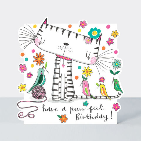 Cat,And,Birds,Happy,Birthday,Card,buy birthday card for her online, buy girls birthday cards online, buy cute birthday cards online, buy cat birthday card online, buy Rachel Ellen birthday cards online, buy balloons and birds birthday cards online