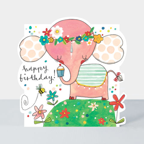 Elephant,And,Cupcake,Happy,Birthday,Card,buy birthday card for her online, buy girls birthday cards online, buy cute birthday cards online, buy Rachel Ellen birthday cards online, buy elephant birthday cards online