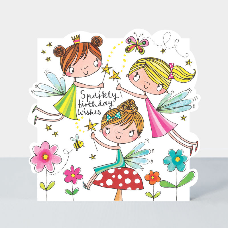 Fairies Sparkly Birthday Wishes Happy Birthday Card - product images