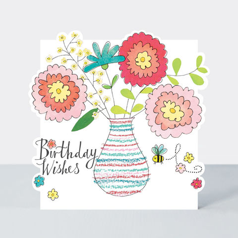Vase,Of,Flowers,Happy,Birthday,Card,buy birthday card for her online, buy floral female birthday cards online, buy vase of flowers birthday cards online, buy Rachel Ellen birthday cards online, buy pretty pink flower birthday cards for lady online