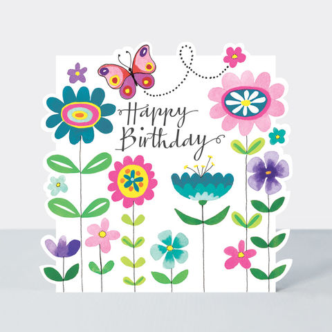 Butterfly,And,Flowers,Happy,Birthday,Card,Buy butterfly birthday card online, buy birthday card for her online, buy floral female birthday cards online, buy vase of flowers birthday cards online, buy Rachel Ellen birthday cards online, buy pretty pink flower birthday cards for lady online