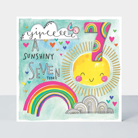 A,Sunshiny,7,Today,Rainbow,And,Sun,Birthday,Card,buy girls 7th birthday cards online, buy age seven birthday cards online, buy seventh birthday cards for kids online, buy 7th birthday cards online with rainbow sunshine,