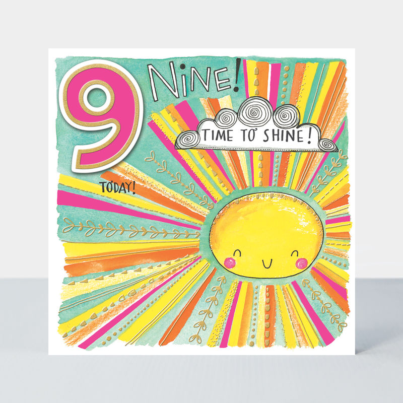 Happy Birthday 9 Today Time To Shine Sunshine Birthday Card - product images
