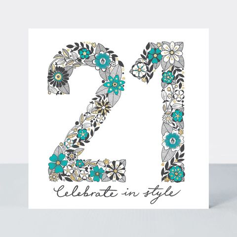 Floral,21st,Celebrate,In,Style,Birthday,Card,buy special floral 21 today birthday cards online, buy girls age twenty one birthday cards online with flowers, buy pretty 21st birthday card for her online, buy special twenty-first birthday cards for her online