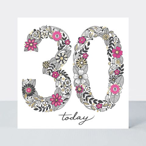 Floral,30th,Birthday,Card,buy special floral 30 today birthday cards online, buy pretty pink flowers 30th birthday cards online, buy pretty 30th birthday card for her online, buy special thirtieth birthday cards for her online