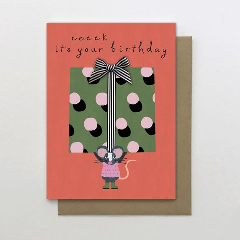 Eeek,It's,Your,Birthday,Mouse,Card,buy mouse birthday card online for her, him unisex, buy mouse and present birthday card  online, girls birthday cards with mice, buy cute birthday cards with animals online, buy mice birthday cards online, buy gender neutral unisex birthday cards online w