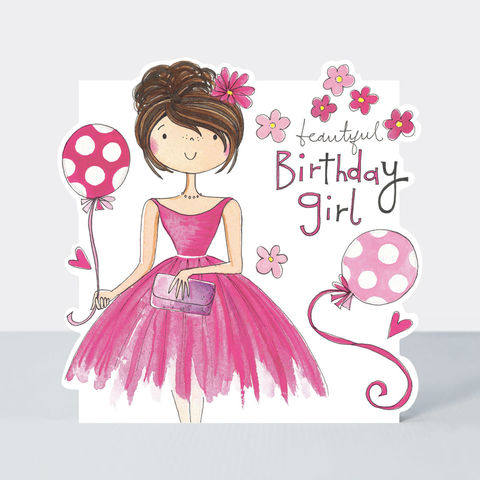 Beautiful,Birthday,Girl,&,Balloons,Card,buy birthday card for her online, buy birthday girls birthday cards online, buy cute birthday cards online, buy Rachel Ellen birthday cards online, buy teenager birthday card online, buy girl and balloons birthday cards online