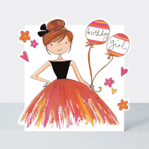 Birthday,Girl,&,Balloons,Card,buy birthday card for her online, buy birthday girls birthday cards online, buy cute birthday cards online, buy Rachel Ellen birthday cards online, buy teenager birthday card online, buy girl and balloons birthday cards online