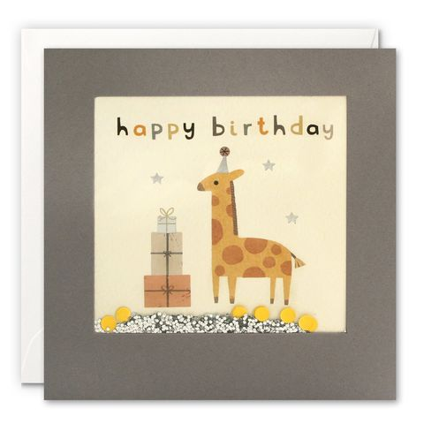 Grey,Shakies,Giraffe,and,Presents,Happy,Birthday,Card,buy shakies birthday cards online, buy giraffe birthday cards online for him her kids child unisex, buy cute animal birthday cards online, buy gender neutral birthday cards online, buy giraffe and presents birthday cards online, buy pink cute birthday car