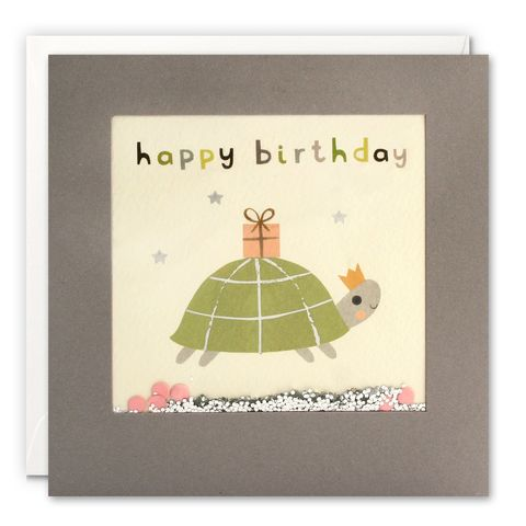 Grey,Shakies,Tortoise,and,Present,Happy,Birthday,Card,buy shakies birthday cards online, buy tortoise birthday cards online for him her kids child unisex, buy cute animal birthday cards online, buy gender neutral birthday cards online, buy tortoise and present birthday cards online