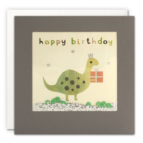 Grey,Shakies,Dinosaur,and,Present,Happy,Birthday,Card,buy shakies birthday cards online, buy dinosaur birthday cards online for him her kids child unisex, buy cute animal birthday cards online, buy gender neutral birthday cards online, buy dinosaur and present birthday cards online