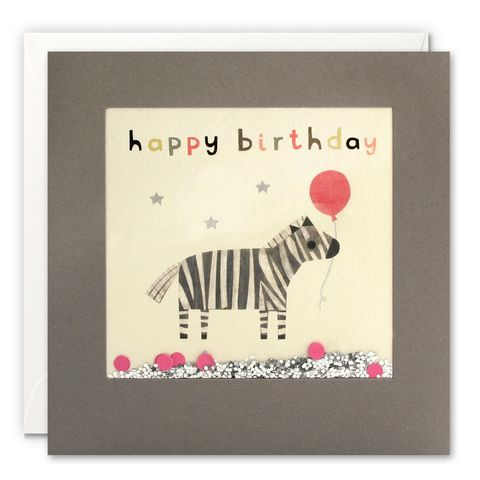 Grey,Shakies,Zebra,and,Balloon,Happy,Birthday,Card,buy shakies birthday cards online, buy zebra birthday cards online for him her kids child unisex, buy cute animal birthday cards online, buy gender neutral birthday cards online, buy zebra and present birthday cards online, buy pink cute birthday cards