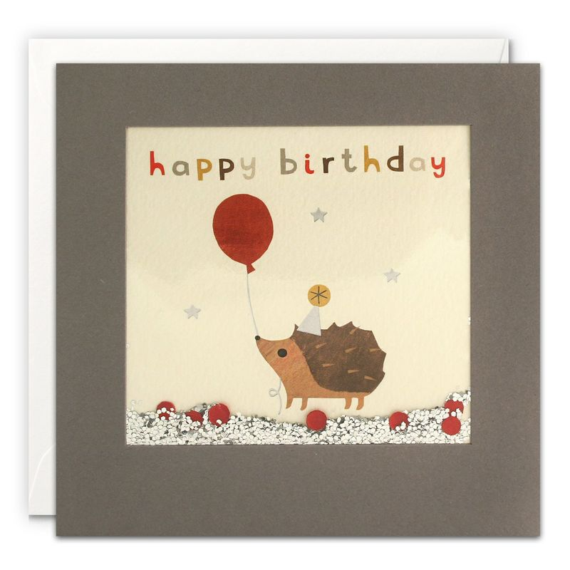 Grey Shakies Hedgehog and Balloon Happy Birthday Card - product images