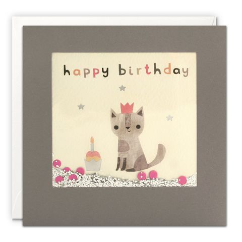 Grey,Shakies,Cat,And,Cupcake,Happy,Birthday,Card,buy shakies birthday cards online, buy cat birthday cards online for him her kids child unisex, buy cute animal birthday cards online, buy gender neutral birthday cards online, buy cat and cupcake birthday cards online, buy pink cute birthday cards
