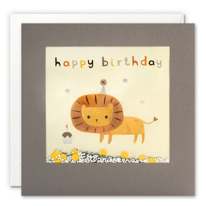 Grey Shakies Lion And Cupcake Happy Birthday Card - product images