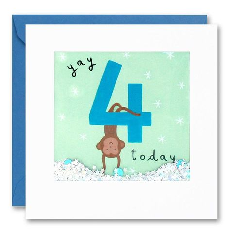 Shakies,Monkey,4,Today,Happy,Birthday,Card,buy shakies birthday cards online, buy monkey 4th birthday cards online for kids child boy girl, buy cute animal age four birthday cards online, buy monkey fourth birthday cards online, buy monkey 4th birthday card for boys online