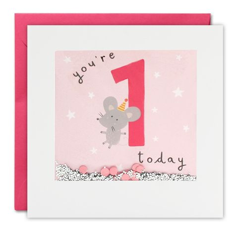 Shakies,Mouse,1,Today,Happy,Birthday,Card,buy shakies birthday cards online, buy babys first birthday cards online for kids child boy girl, buy cute animal age one birthday cards online, buy mouse 1st birthday cards online, buy pink mouse age one birthday card for boys online
