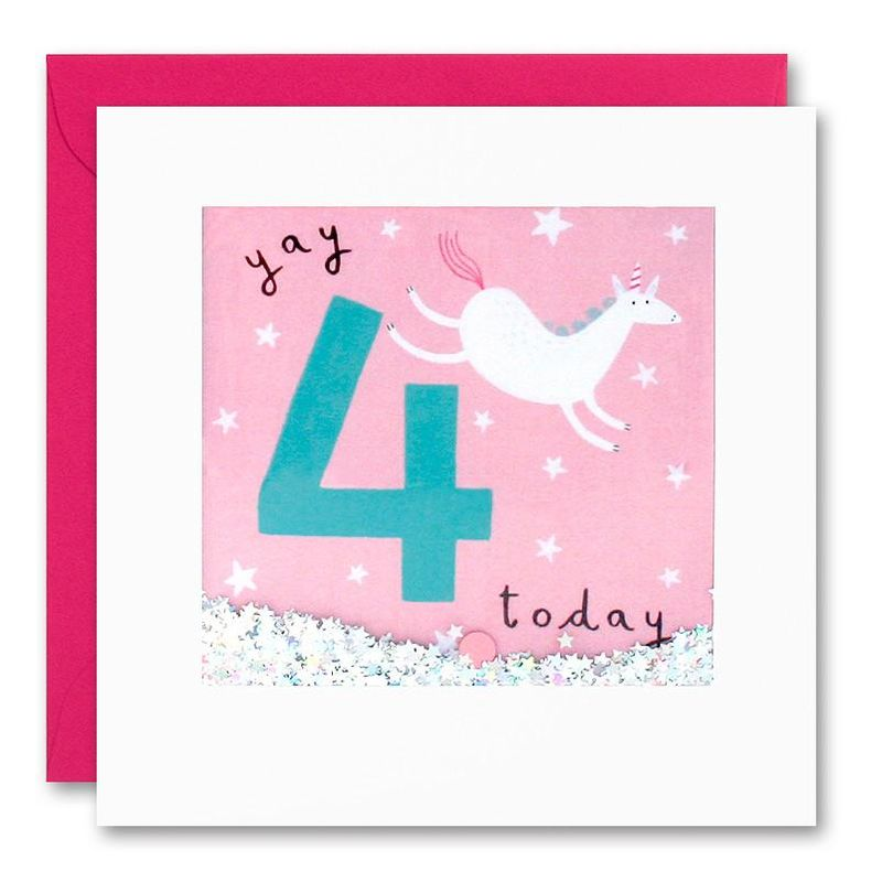 Shakies Unicorn 4 Today Happy Birthday Card - product images