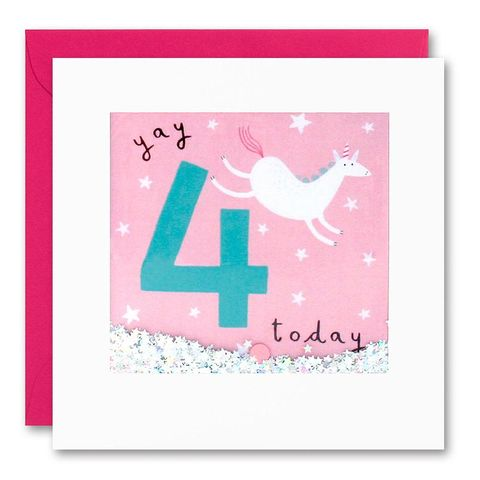 Shakies,Unicorn,4,Today,Happy,Birthday,Card,buy shakies birthday cards online, buy unicorn 4th birthday cards online for kids child boy girl, buy magical unicorn age four birthday cards online, buy unicorn fourth birthday cards online, buy unicorn magic 4th birthday card for boys online