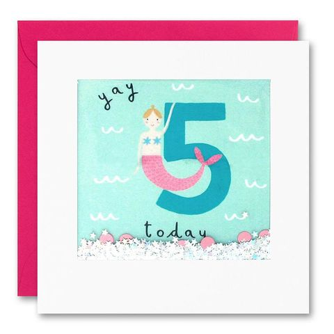 Shakies,Mermaid,5,Today,Happy,Birthday,Card,buy shakies birthday cards online, buy magical mermaid 5th birthday cards online for kids child boy girl, buy fairytale mermaids age five birthday cards online, buy mermaids under the sea aerial fifth birthday cards online, buy mermaids 5th birthday card