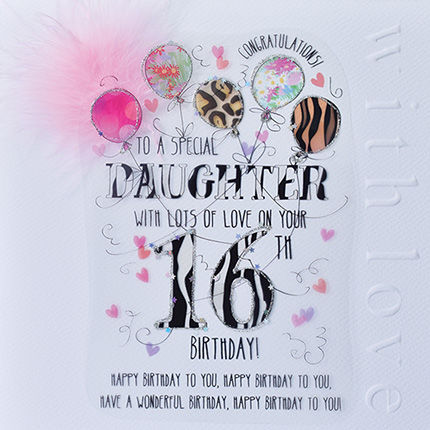 New,In,-,Handmade,Daughter,16th,Birthday,Card,Large,,Luxury,buy daughter 16th birthday card online, 16th birthday card for daughter, cards for daughters, sixteenth brithday card, large 16 birthday card for daughter, luxury age sixteen card for daughter, 18th birthday cards,