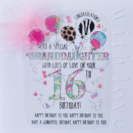 New In - Handmade Granddaughter 16th Birthday Card - Large, Luxury Birthday Card - product images  of