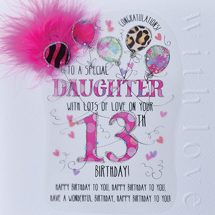 New In - Handmade Daughter 13th Birthday Card - Large, Luxury Birthday Card - product images  of