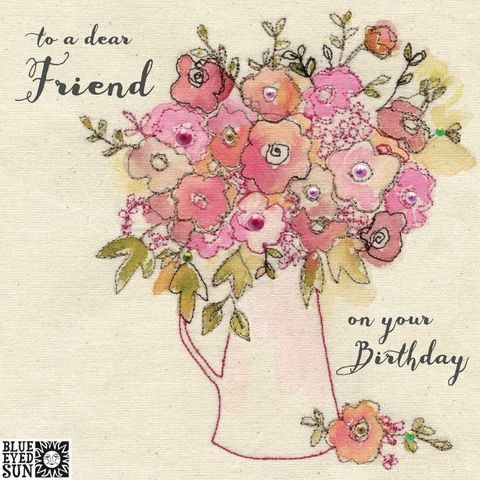 Floral,Dear,Friend,Birthday,Card,buy pretty birthday card for dear friend online, buy dear friend birthday cards with vase of flowers online, buy birthday cards for friend online, buy pretty pink floral birthday cards for friends online, buy shabby chic birthday cards for friend onlin