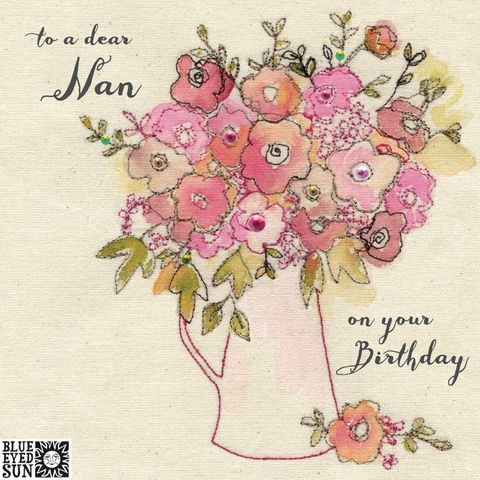 Floral,Dear,Nan,Birthday,Card,buy pretty birthday card for dear nan online, buy nan birthday cards with vase of flowers online, buy birthday cards for special nan online from granddaughter grandson grandchild, buy pretty pink floral birthday cards for nanny online, buy shabby chic bir
