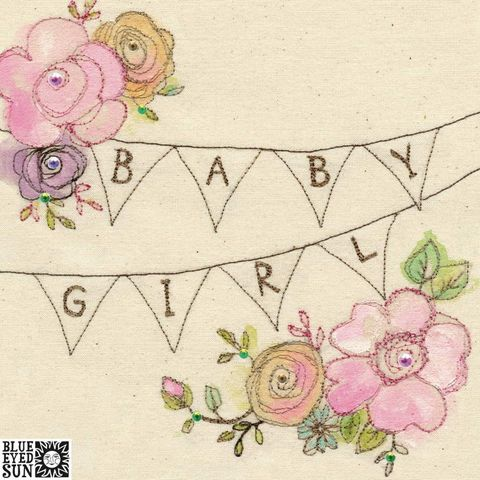 Bunting,And,Flowers,Baby,Girl,Card,buy pretty baby girl cards online, buy pretty pink new baby girl cards online, buy congrats on your new baby cards online, bunting and flowers new baby girl cards, buy baby card for new parents, buy pretty pink baby girl cards