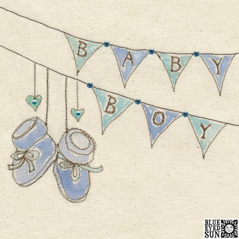 Bunting,And,Booties,Baby,Boy,Card,buy pretty baby boy cards online, buy pretty blue new baby boy cards online, buy congrats on your new baby cards online, bunting and  baby booties new baby boy cards, buy baby card for new parents, buy pretty blue baby boy cards
