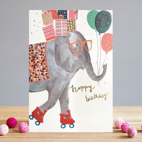 Elephant,On,Roller,Skates,Happy,Birthday,Card,buy elephant birthday card online, buy birthday cards with elephants online, buy birthday card for her online, female birthday cards, girls birthday cards, cards with animals, elephant birthday card for kids, elephant birthday cards for him, fun cute elep