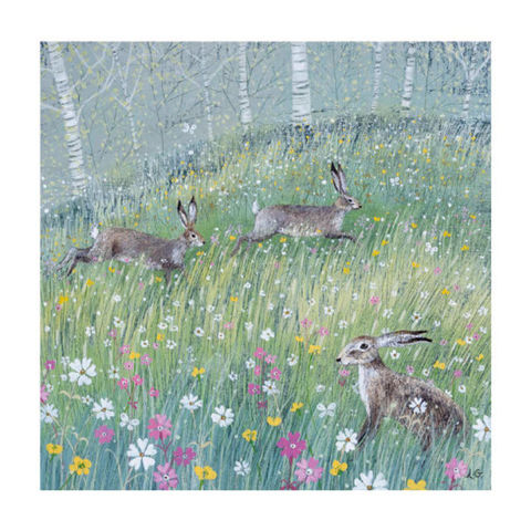 Hares,Greetings,Card,-,Lucy,Grossmith,Buy Hare and flowers blank greetings card online, buy wildlife cards online, buy pretty countryside and nature cards online, buy coast and county nature cards, buy summer card with flowers, buy Lucy Grossmith card online