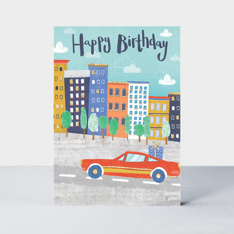 Car,And,Town,Happy,Birthday,Card,buy car and present birthday cards for him online, buy car birthday cards for him online, buy birthday cards for men online, buy male birthday card online