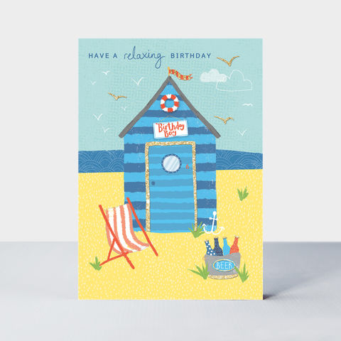 Beach,Hut,Relaxing,Birthday,Card,buy beach hut birthday cards for him online, buy seaside birthday cards for him online, buy birthday cards for men online, buy male birthday card online