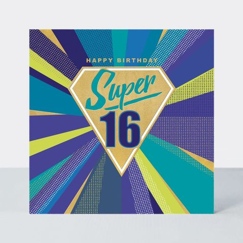 Super,16th,Happy,Birthday,Card,buy boys 16th birthday cards online, buy age sixteen birthday cards online, buy sixteenth birthday cards for the birthday boy online, buy birthday cards for him online,