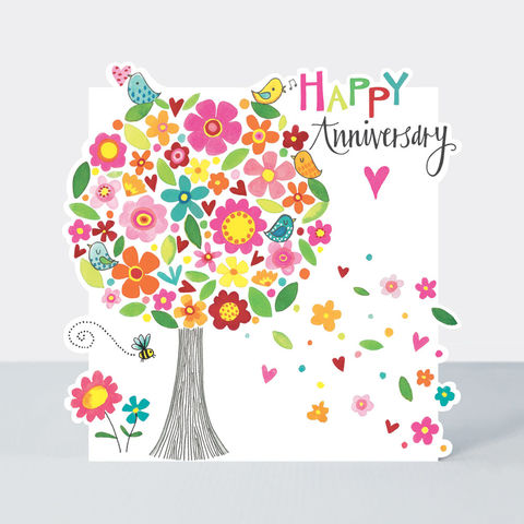 Tree,Of,Flowers,Happy,Anniversary,Card,buy wedding anniversary card for special couple online, buy floral anniversary cards online, buy card for wedding anniversaries online, buy Rachel Ellen card, buy pretty wedding anniversary card for wife online