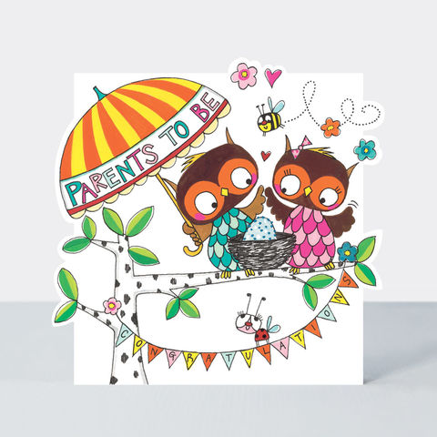 Owls,And,Nest,Parents,To,Be,Congratulations,Card,buy parents to be card for special couple online, buy owl congratulations on baby news parents to be cards online, buy card for parents to be online, buy achel Ellen card, buy pretty wedding anniversary card for wife online