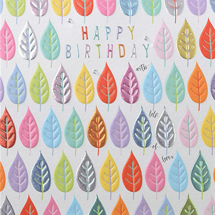 Leaves,Happy,Birthday,Card,buy birthday cards for him, but birthday cards for her, tree birthday cars, nature birthday cards ,birthday cards with leaves, leaf botanical birthday cards, online, buy birthday present birthday for him her unisex online