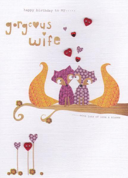 Hand Finished Wife Foxes Birthday Card - product images