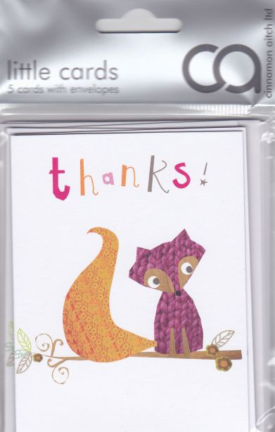 Pack of 5 Thanks Fox Cards - product images  of