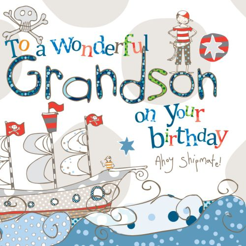 Grandson Pirate Birthday Card - product images  of