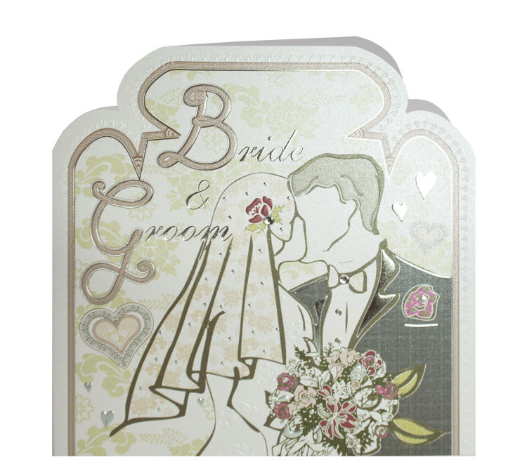 Hand Finished Bride and Groom Wedding Card - product images  of