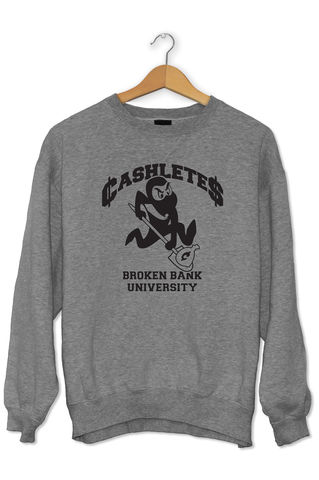 CASHLETES,MASCOT,CREW,crewneck, streetwear, collegiate, broken bank, broken bank clothing, brokenbankcustoms, college,
