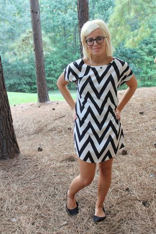 Chevron,Shift,Dress