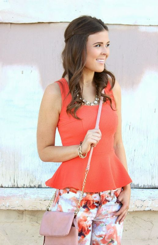 Coral Peplum Top - product images  of